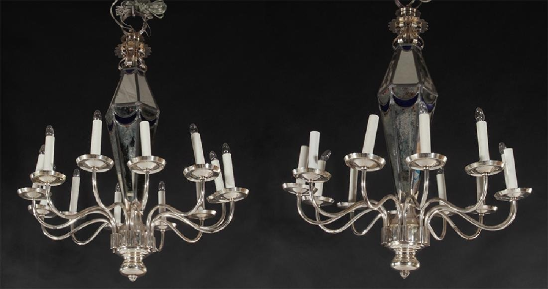PAIR POLISHED CHROME MIRRORED 10 ARM CHANDELIERS