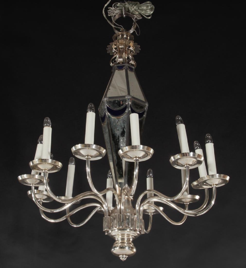 PAIR POLISHED CHROME MIRRORED 10 ARM CHANDELIERS - 2