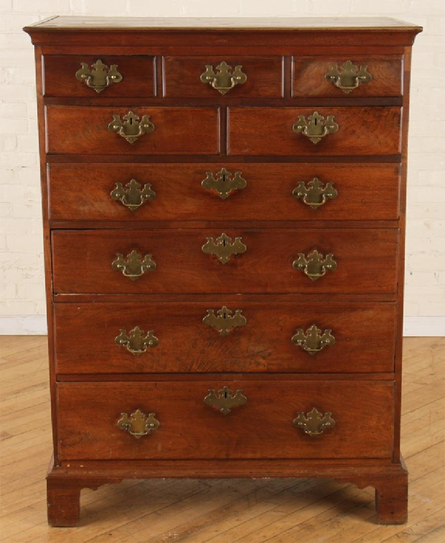 CHIPPENDALE NINE DRAWER TALL CHEST C. 1800
