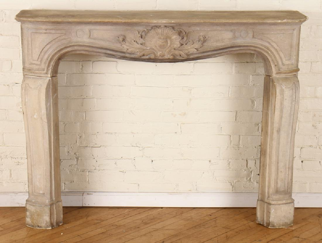 LOUIS XV STLE CAST STONE FIREPLACE MANTLE C. 1910