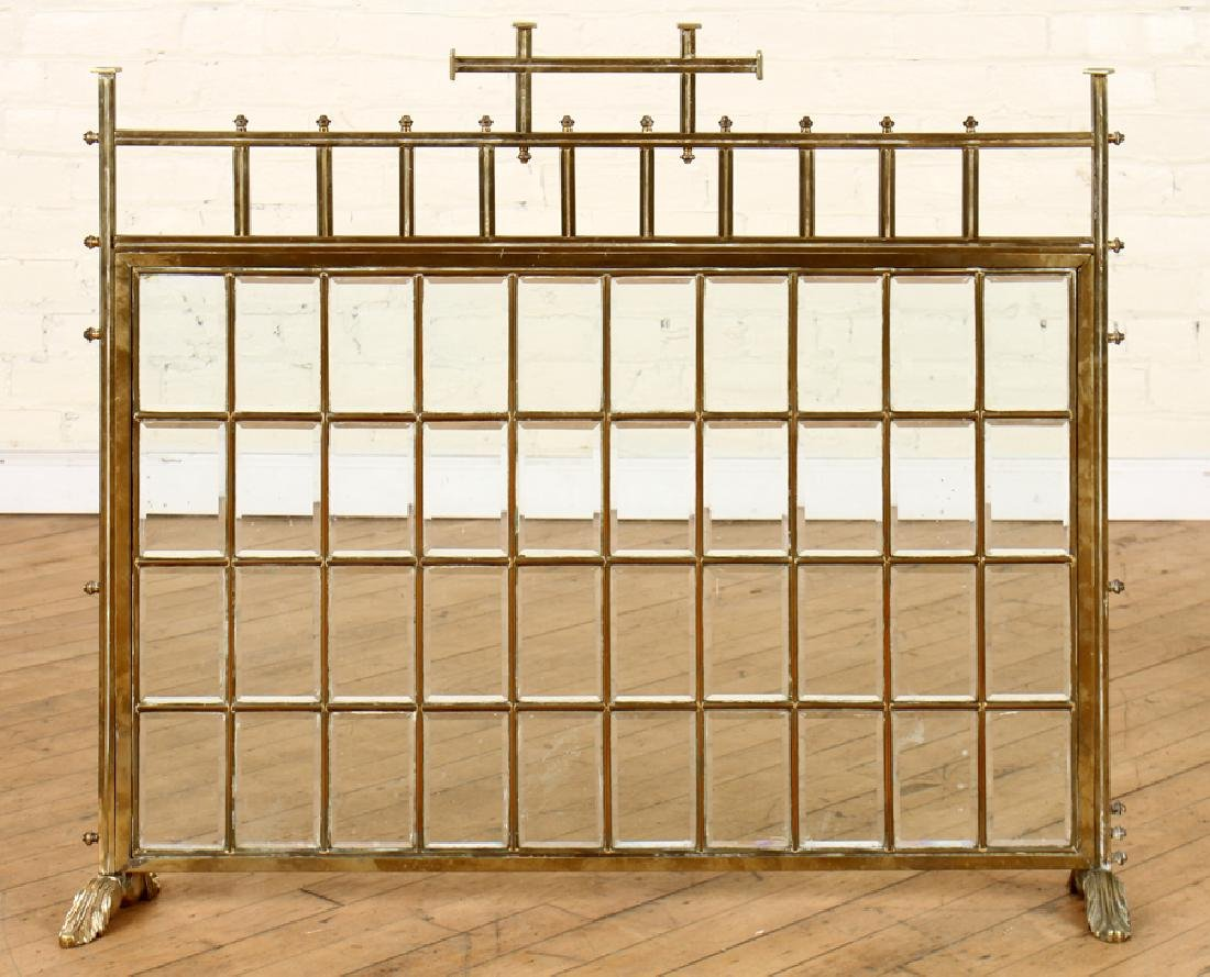 FRENCH BRASS FIRE SCREEN BEVELED GLASS C.1910