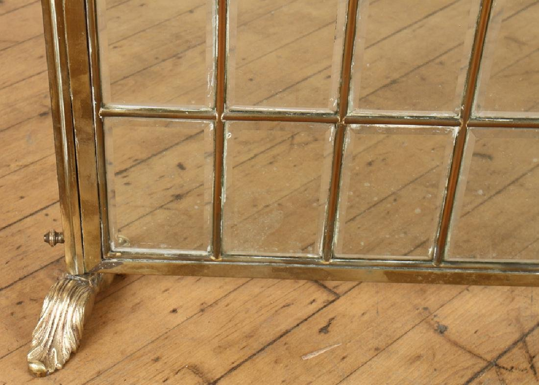 FRENCH BRASS FIRE SCREEN BEVELED GLASS C.1910 - 3