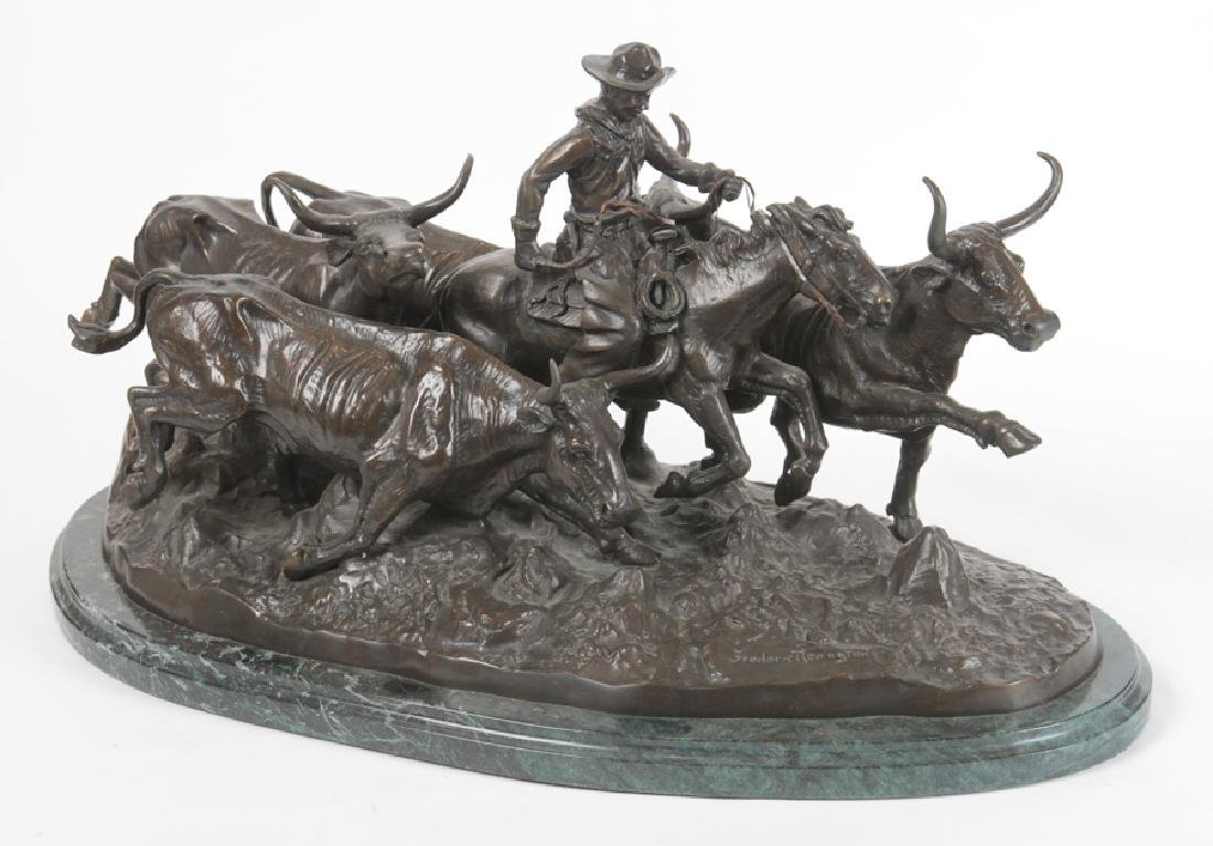 AFTER FREDERIC REMINGTON BRONZE COWBOY MARBLE