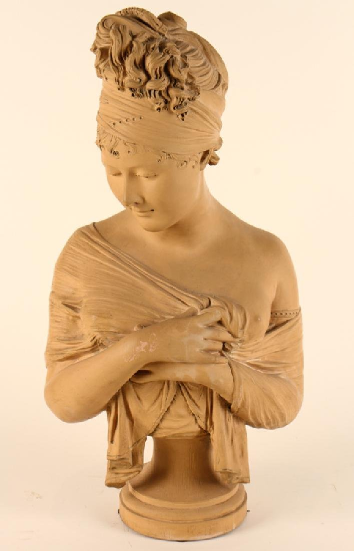 PATINATED TERRACOTTA BUST MARIE ANTOINETTE SIGNED