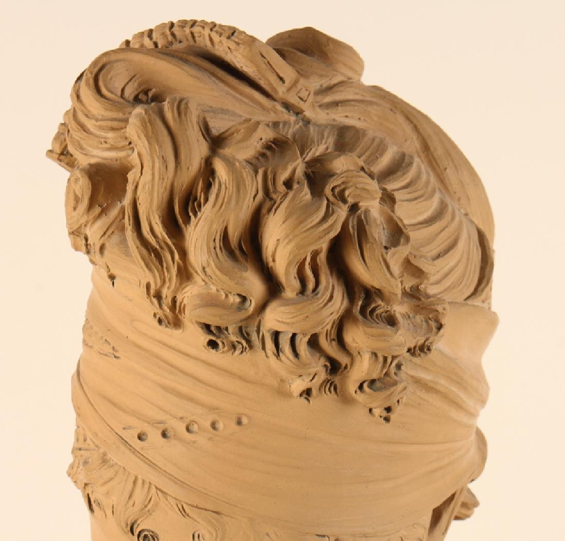 PATINATED TERRACOTTA BUST MARIE ANTOINETTE SIGNED - 2