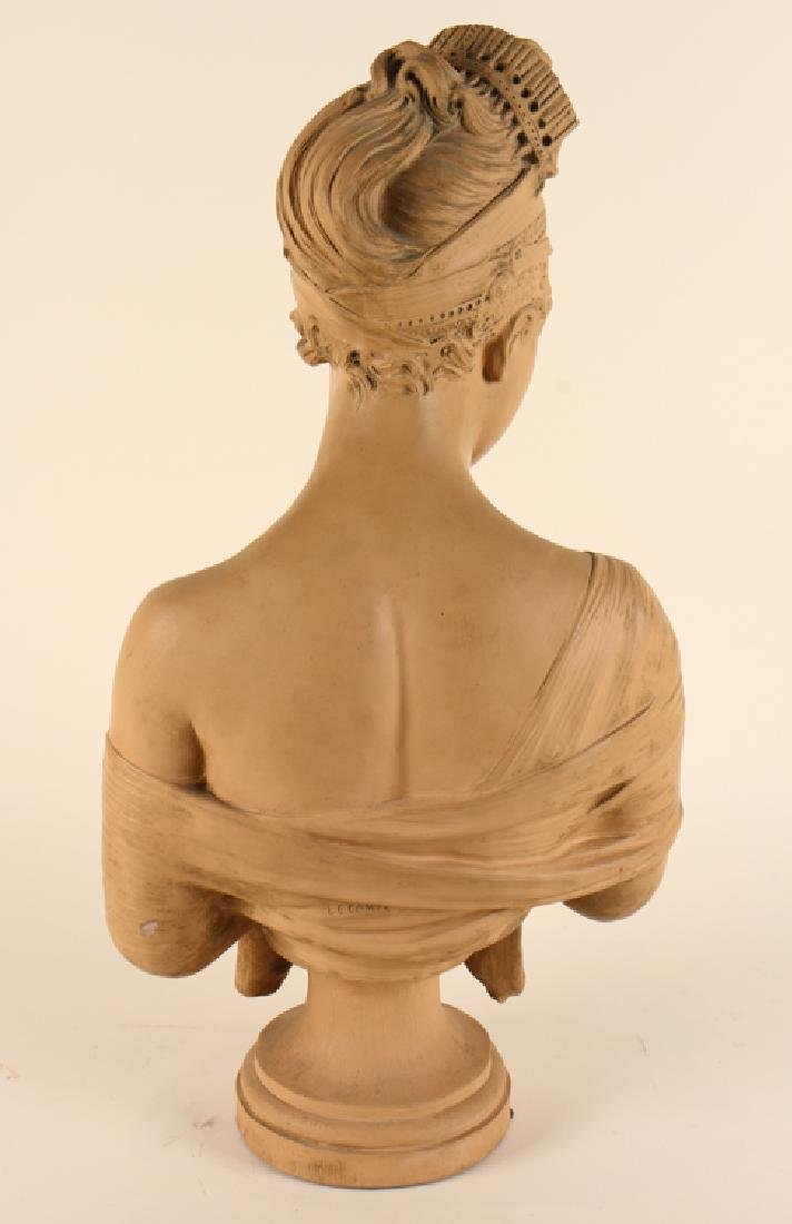 PATINATED TERRACOTTA BUST MARIE ANTOINETTE SIGNED - 6