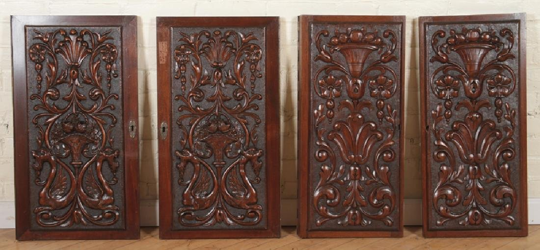 COLLECTION OF 4 ANTIQUE WALNUT CARVINGS C.1880