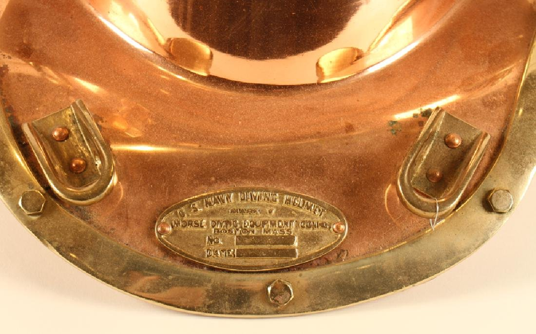BRASS AND COPPER DIVER'S HELMET U.S. NAVY DIVING - 4
