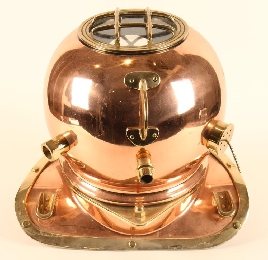 BRASS AND COPPER DIVER'S HELMET U.S. NAVY DIVING - 5
