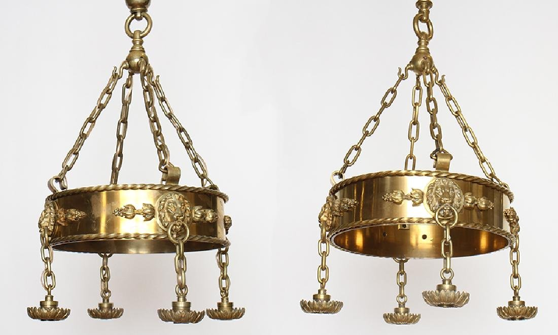 PAIR OF SIGNED CALDWELL CHANDELIERS