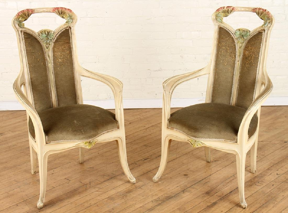 PAIR OF PAINTED ART NOUVEAU LOUIS MAJORELLE CHAIRS
