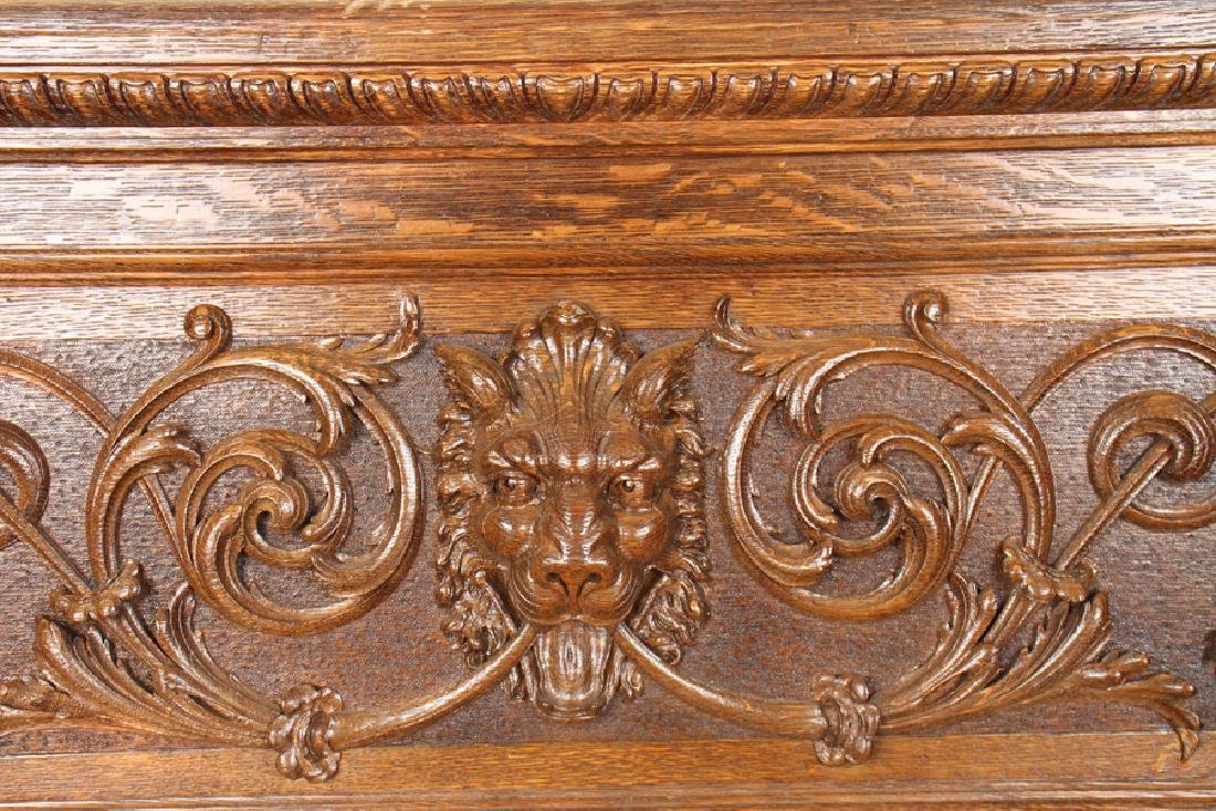 AMERICAN RENAISSANCE CARVED OAK BENCH C.1880 - 3