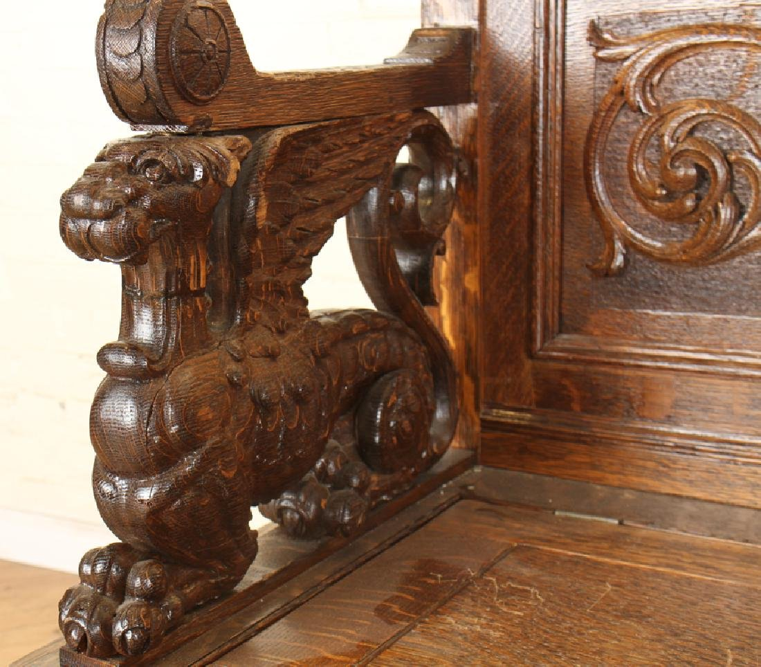 AMERICAN RENAISSANCE CARVED OAK BENCH C.1880 - 4
