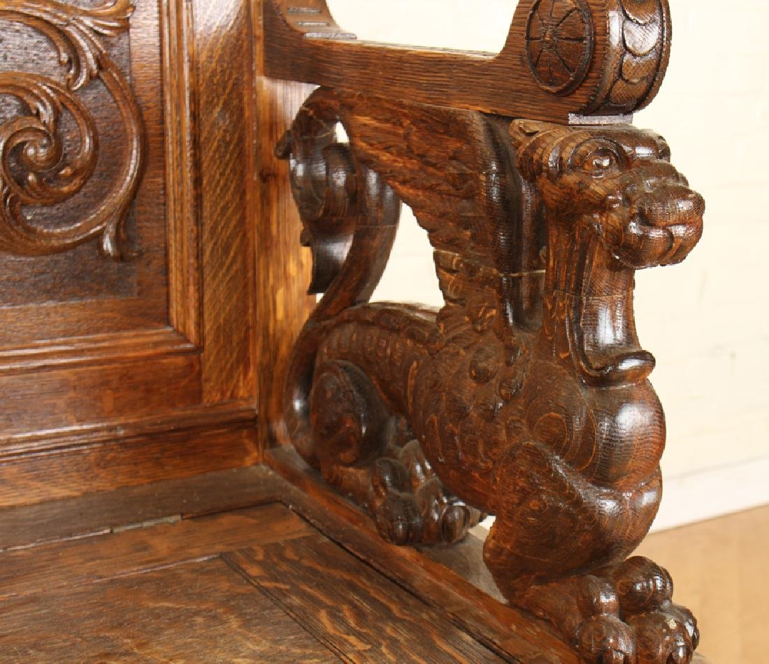 AMERICAN RENAISSANCE CARVED OAK BENCH C.1880 - 5