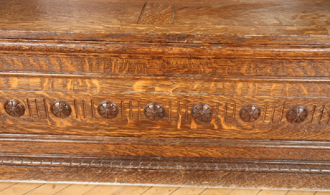 AMERICAN RENAISSANCE CARVED OAK BENCH C.1880 - 7