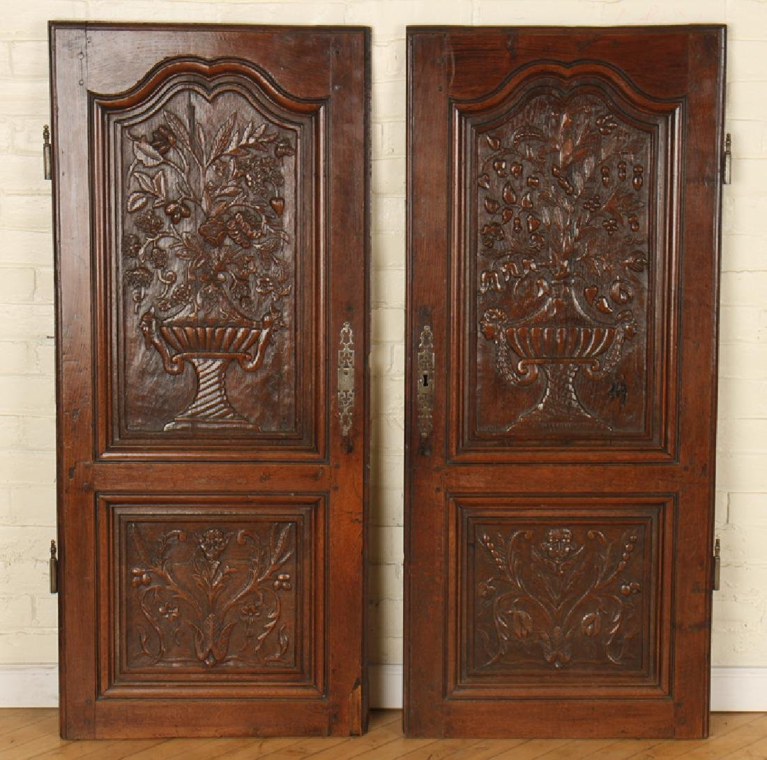 PAIR CARVED SOLID OAK DOORS CIRCA 1870