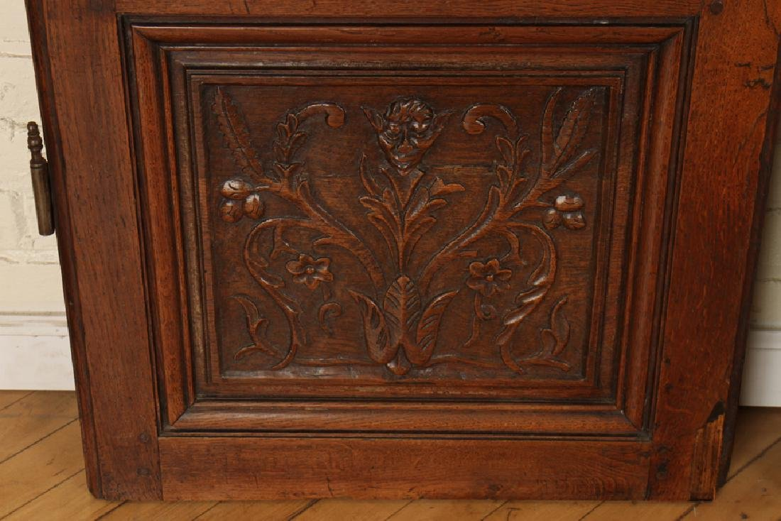 PAIR CARVED SOLID OAK DOORS CIRCA 1870 - 4