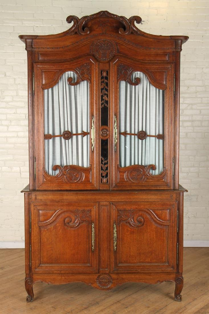 19TH CENT. CARVED OAK FRENCH BUFFET DEUX CORPS