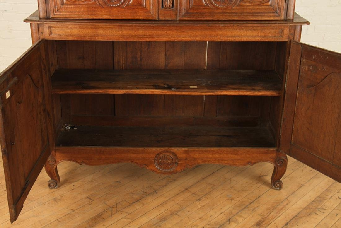 19TH CENT. CARVED OAK FRENCH BUFFET DEUX CORPS - 5