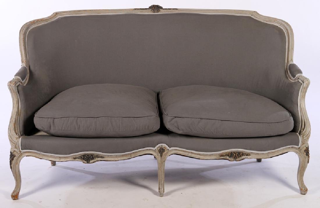 FRENCH LOUIS XV CARVED PAINTED SETTEE C.1920
