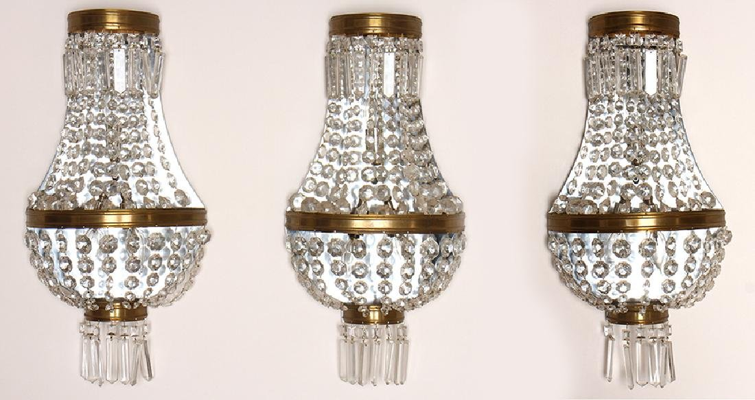 THREE EMPIRE STYLE BRASS BASKET FORM SCONCES 1950
