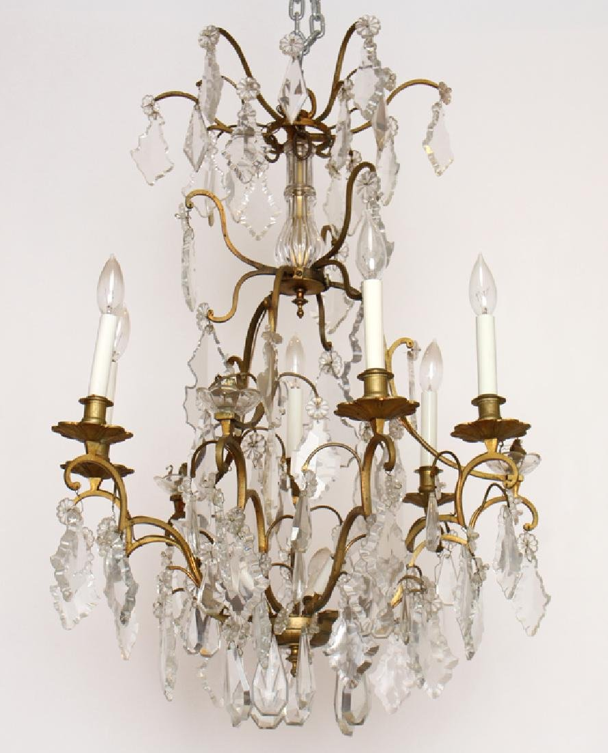 ELABORATE BRONZE CRYSTAL 8 ARM CHANDELIER C. 1950