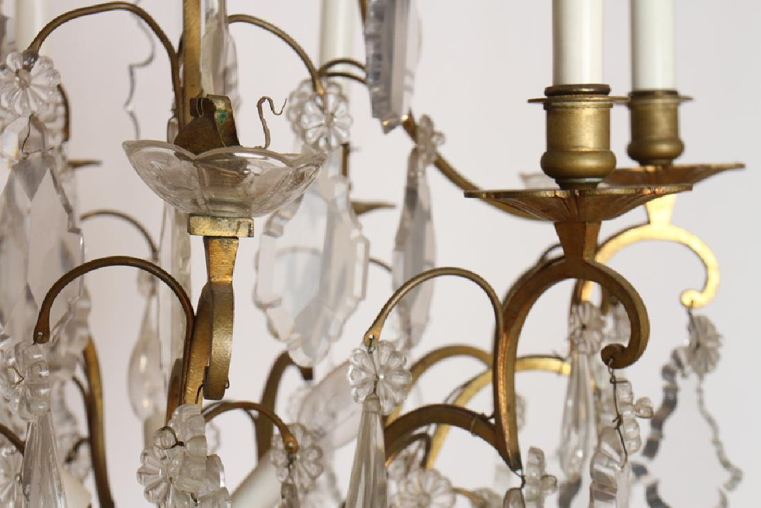 ELABORATE BRONZE CRYSTAL 8 ARM CHANDELIER C. 1950 - 4