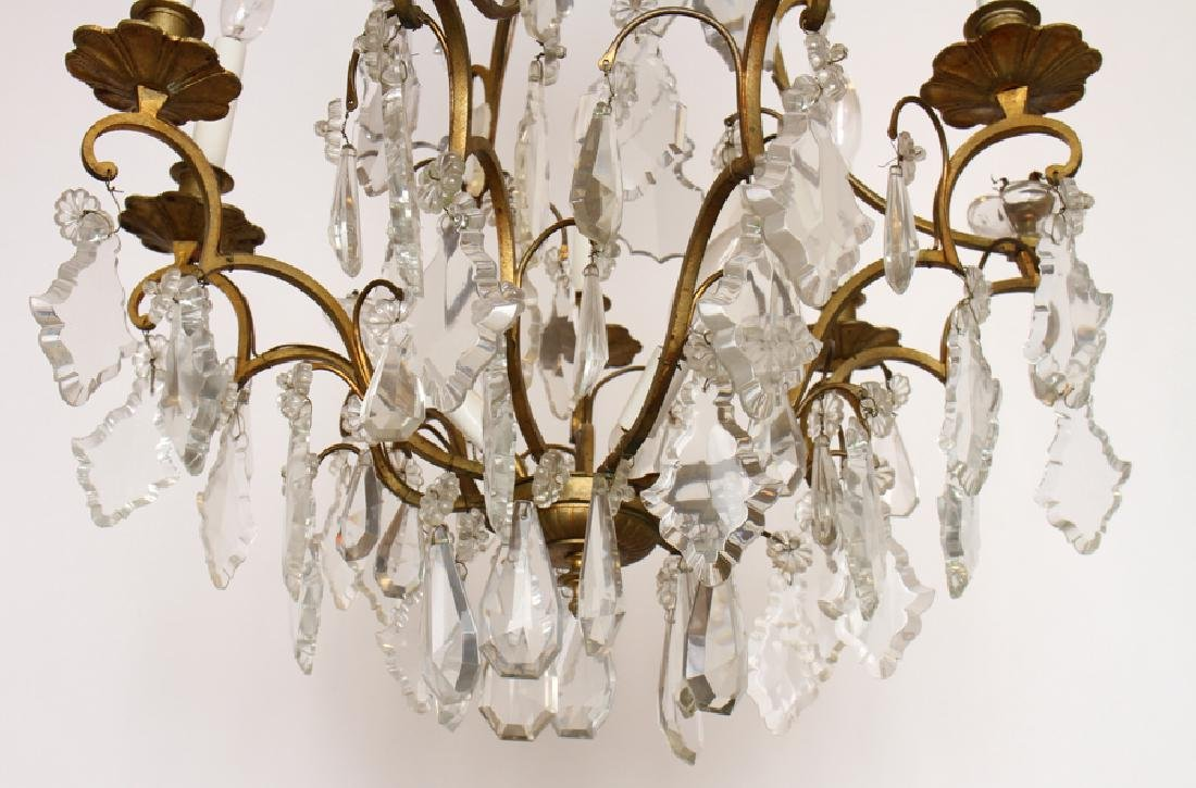 ELABORATE BRONZE CRYSTAL 8 ARM CHANDELIER C. 1950 - 5