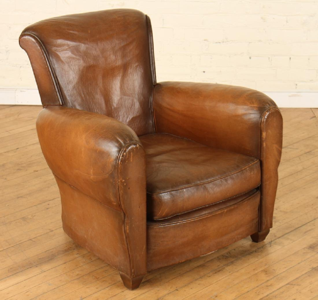 FRENCH LEATHER CLUB CHAIR CIRCA 1940