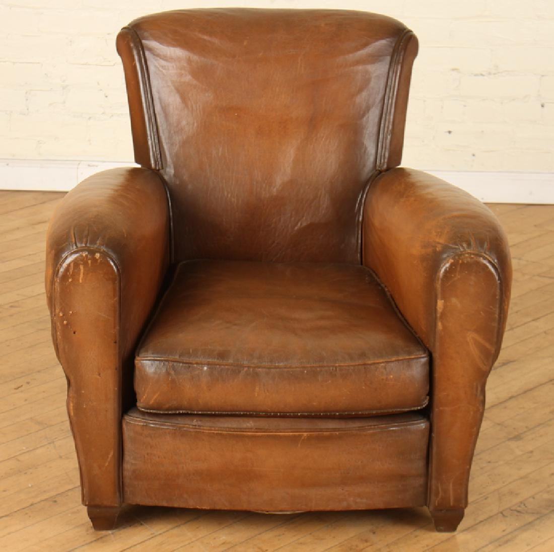 FRENCH LEATHER CLUB CHAIR CIRCA 1940 - 2