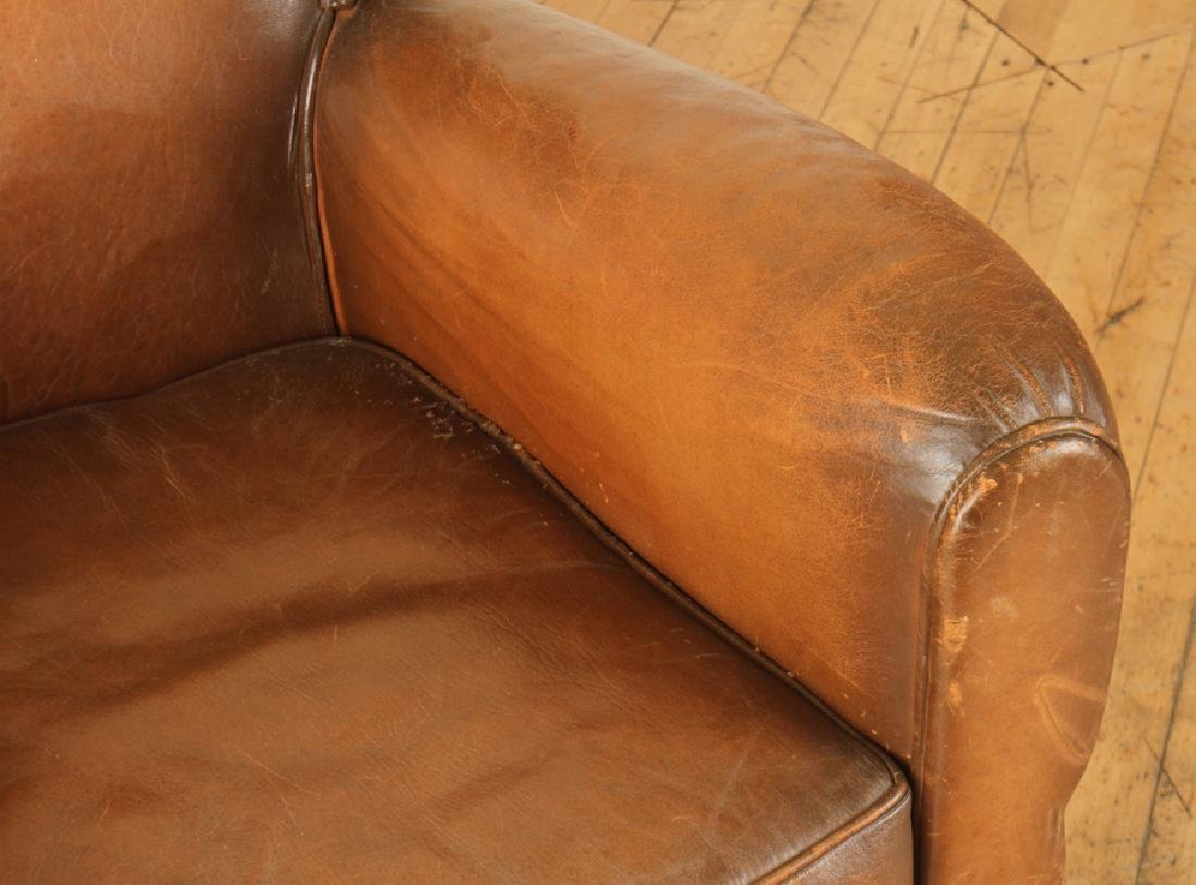 FRENCH LEATHER CLUB CHAIR CIRCA 1940 - 3