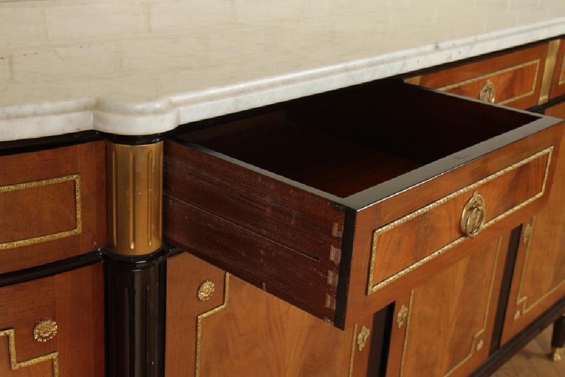 MONUMENTAL LOUIS XVI STYLE MARBLE TOP COMMODE - 3