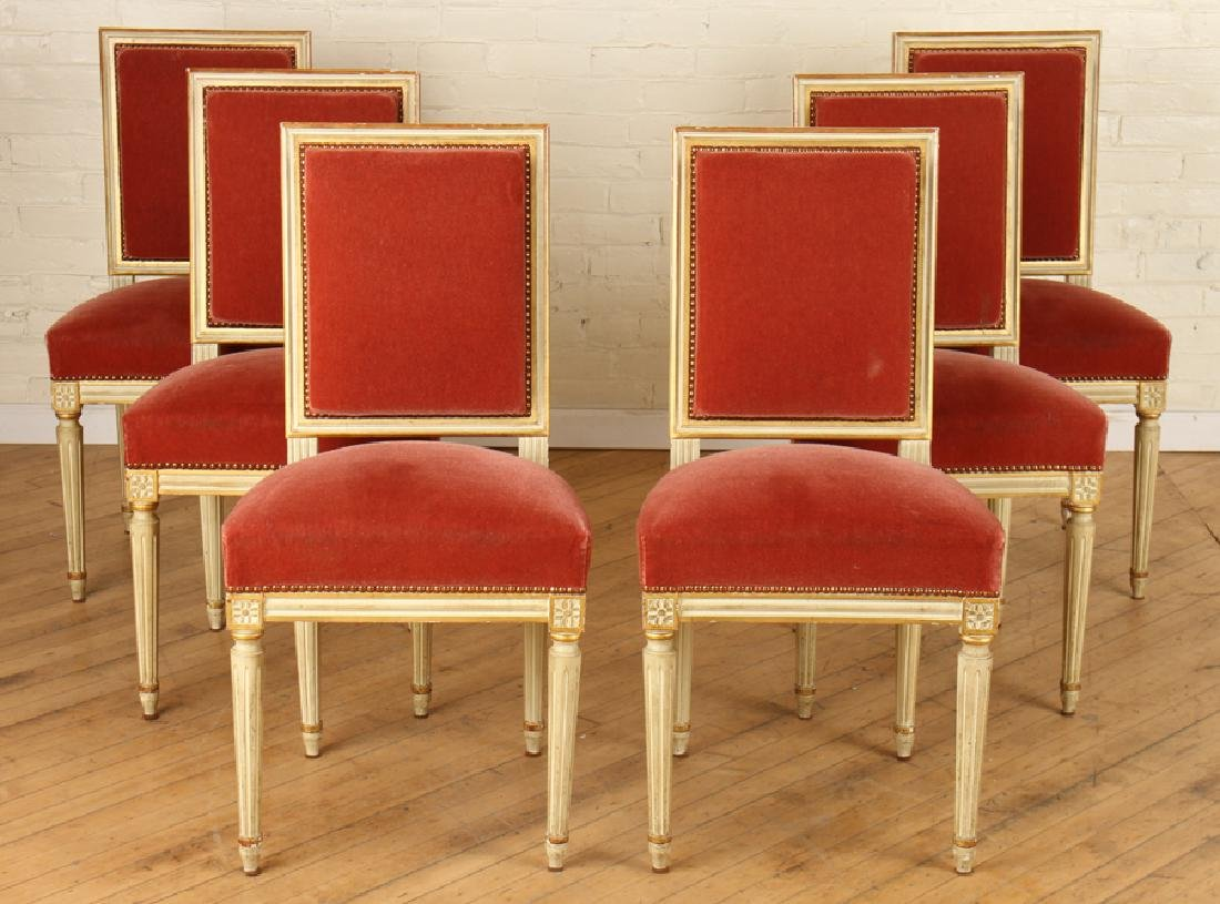 SET 6 LOUIS XVI STYLE FRENCH DINING CHAIRS