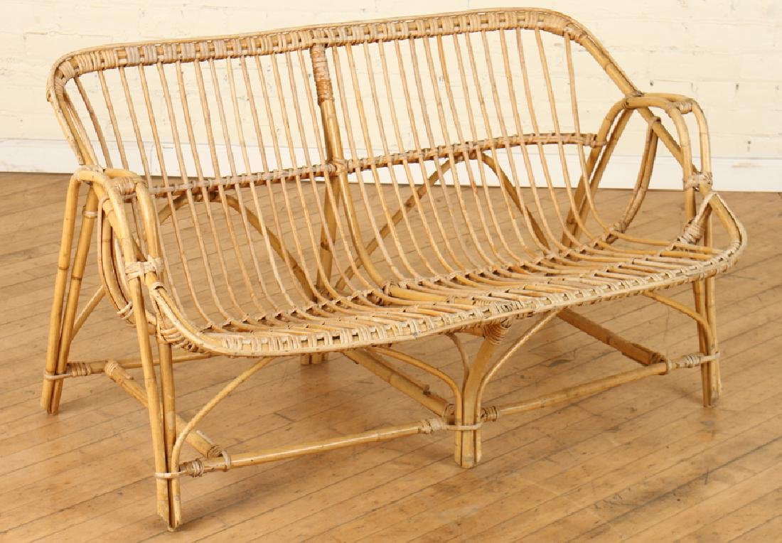 INTERESTING BAMBOO SETTEE CURVED BACK AND ARMS
