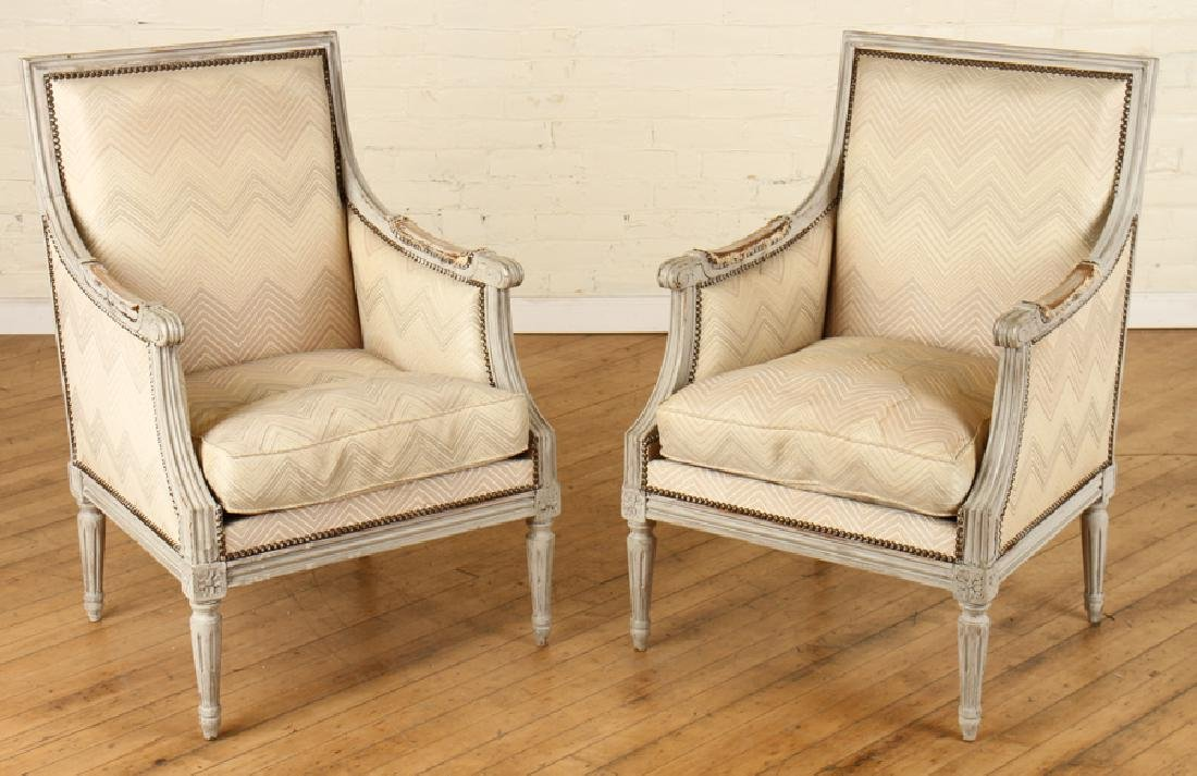 PAIR LOUIS XVI STYLE PAINTED BERGERE CHAIRS