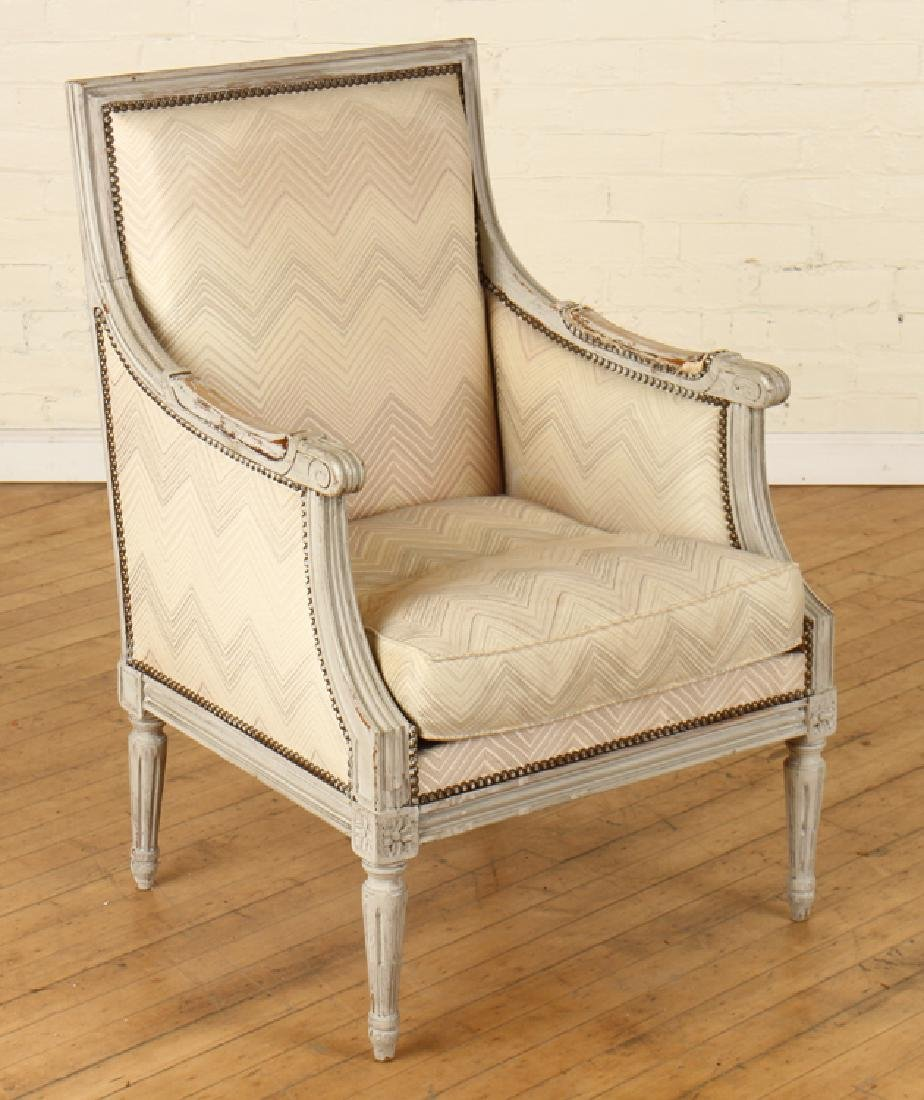 PAIR LOUIS XVI STYLE PAINTED BERGERE CHAIRS - 2