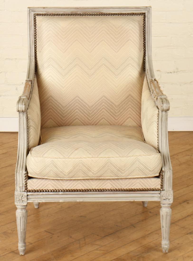 PAIR LOUIS XVI STYLE PAINTED BERGERE CHAIRS - 3