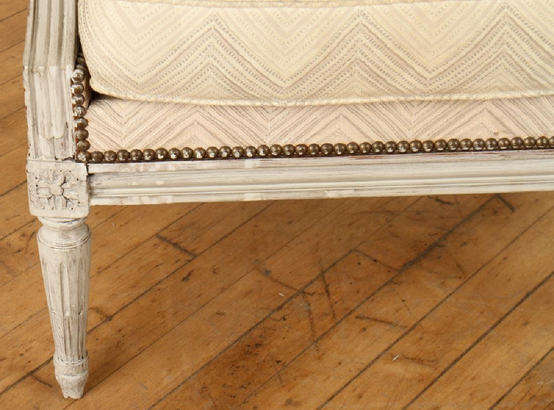 PAIR LOUIS XVI STYLE PAINTED BERGERE CHAIRS - 5