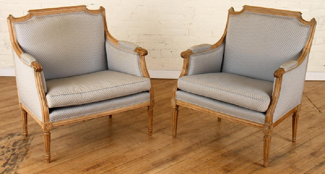 PAIR OF LOUIS XVI STYLE MARQUIS CHAIRS C. 1940