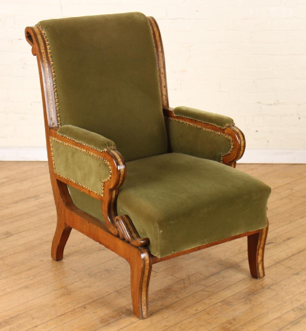 PAIR RUSSIAN UPHOLSTERED MAHOGANY ARM CHAIRS - 2