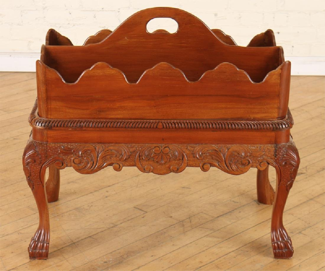 CHIPPENDALE STYLE CARVED MAHOGANY MAGAZINE TABLE - 2