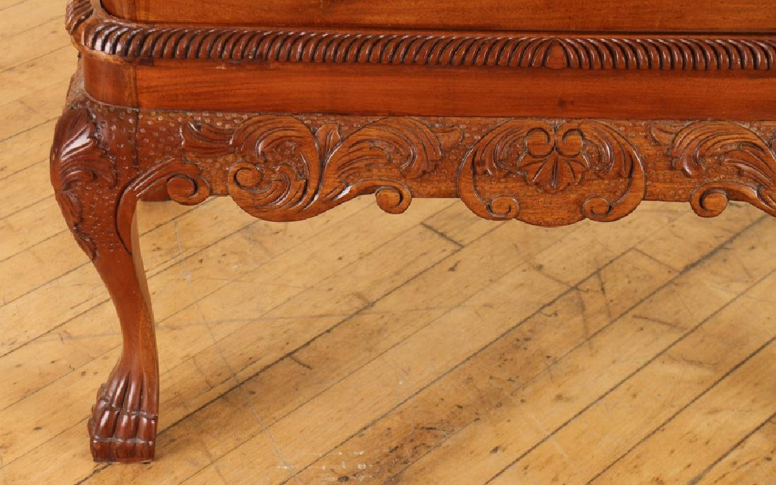 CHIPPENDALE STYLE CARVED MAHOGANY MAGAZINE TABLE - 4