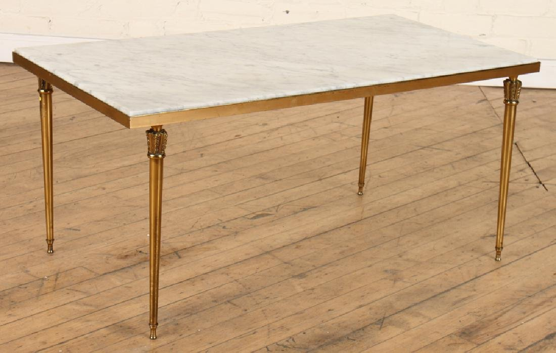 FRENCH MARBLE TOP COFFEE TABLE C. 1960