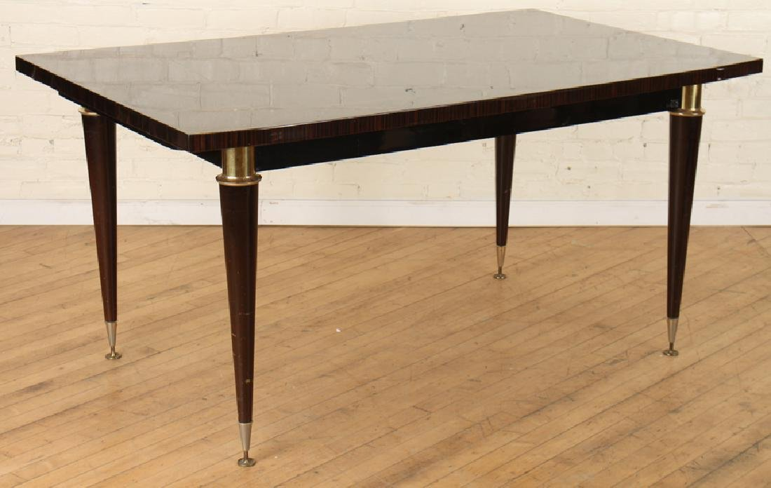 MACASSAR DINING TABLE INLAID BRONZE C. 1950