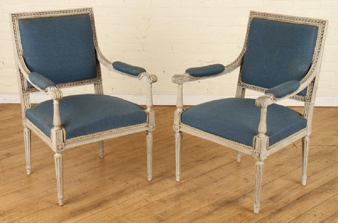 PAIR LOUIS XVI STYLE  ARM CHAIRS CARVED FRAME