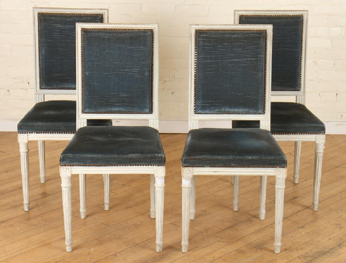 SET 4 LOUIS XVI STYLE WOOD CHAIRS CIRCA 1930.