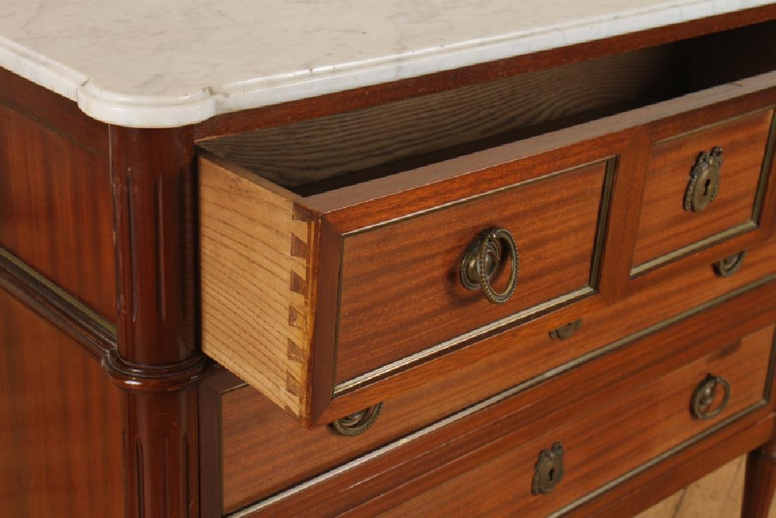 LOUIS XVI STYLE MAHOGANY MARBLE TOP COMMODE - 4