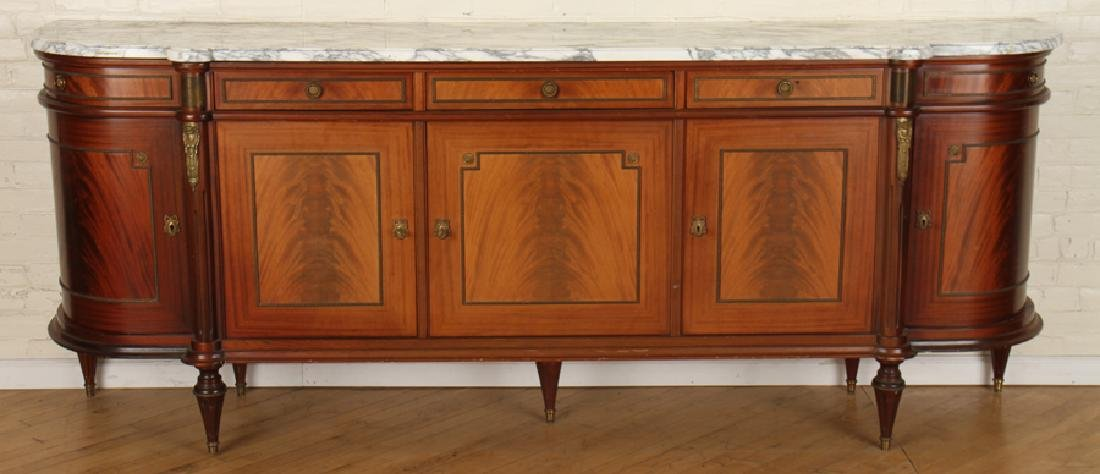 LOUIS XVI STYLE MARBLE TOP MAHOGANY SIDEBOARD
