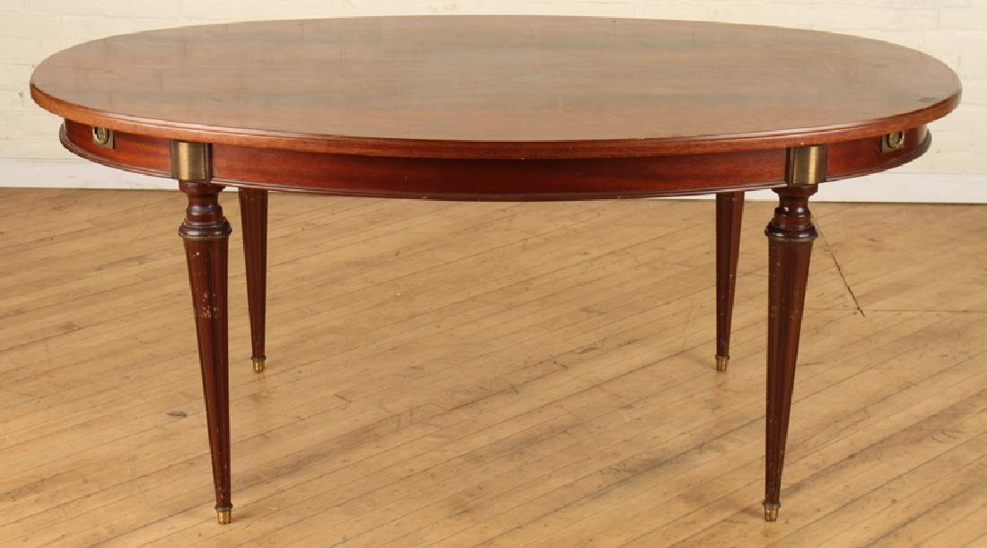 FRENCH MAHOGANY OVAL DINING TABLE