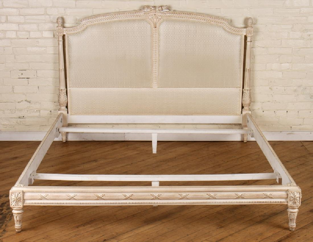 CARVED PAINTED QUEEN SIZE LOUIS XVI STYLE BED C1930